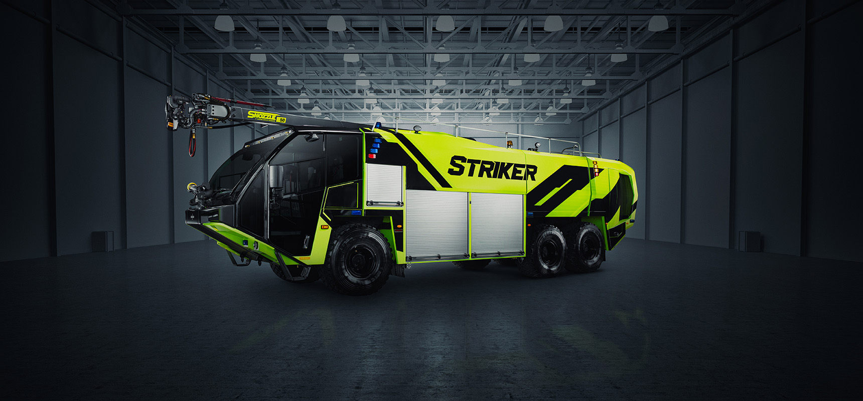 Oshkosh Airport Products unveiled the new Striker ARFF vehicle with optimized cockpit and best-in-class legacy features